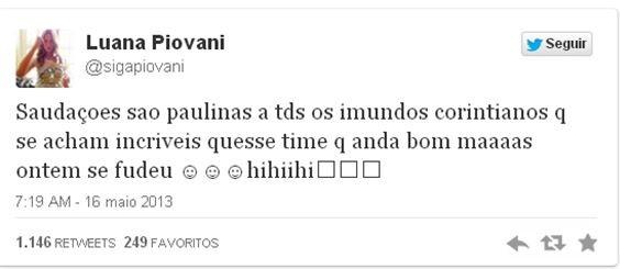 Zoação de Luana Pivonai ápós eliminação do Corinthians na Libertadores