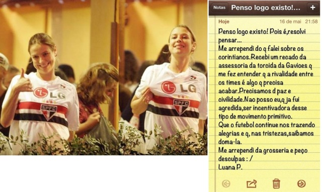 Atriz com a camisa do São Paulo, e uma nota publicada no twitter oficial de Luana.