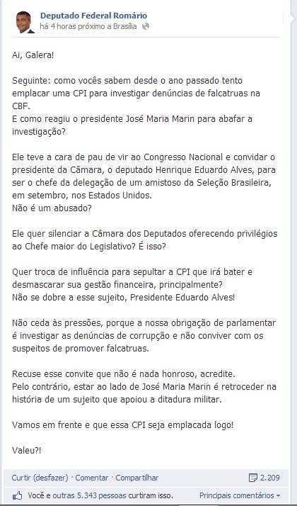 Nota de Romário, publicada em seu Facebook.
