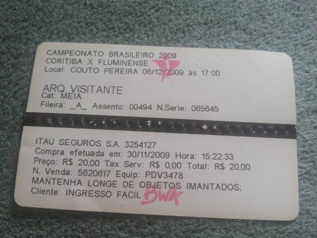 Ingresso do Ueides para Bahia x Fluminense